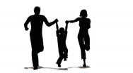 Stock Video Footage of running family with hanging child silhouette