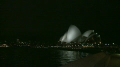 Sydney Harbour Pan at Night, Opera House, Bridge, Ferry Stock Footage