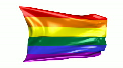 Gay Pride Rainbow Flag 06B (HD) Stock Footage