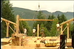 Building a wooden house - stock footage