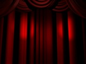 Stage Red Curtains Lights Stock Footage