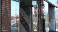 Barbers shop, barbers pole Stock Footage