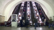 Crowd people and subway escalator. Time lapse. Stock Footage