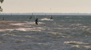 Kite Surfers At The Beach Stock Footage