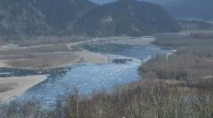 Fraser River Chilliwack MS High Winter Ice Stock Footage
