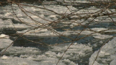 Fraser River CU Ice Flow Foreground branch Stock Footage