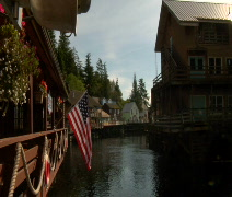 American Flag flies in Small town America Stock Footage