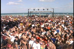 Crowd at Huge Party Miami Beach on Spring Break Florida Daytona College  Crowded - stock footage