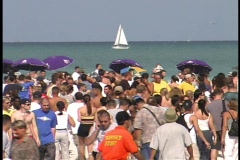 Pan of Huge Party Miami Beach on Spring Break Florida Daytona College  Crowded - stock footage