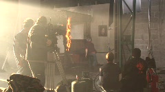 Shooting fire special effects movie making-of production studio Stock Footage