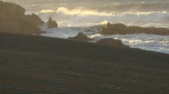 Chile Waves on Rocks Sunset 1 Stock Footage