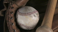 Stock Video Footage of Baseball, Bat and Glove