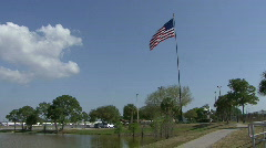American Flag In Park Stock Footage