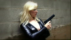 Secreet Agent Woman With Gun 03 Stock Footage