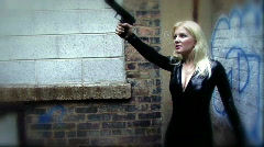 Secret Agent Woman with Gun 04 Stock Footage