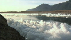 Fraser River IceForeground river ice WS Stock Footage