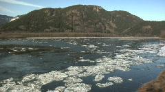 Fraser River WS MT bg winter Ice Stock Footage