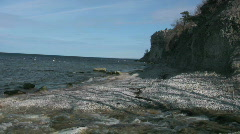 Eroded limestone coastline on the island of Gotland in Sweden springtime Stock Footage