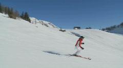 Steadycam following skiing woman part II Stock Footage