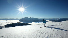 woman skiing on a wonderful day - stock footage