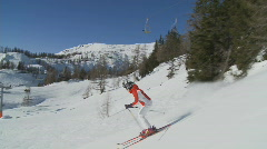 Woman skiing on sunny day, steadycam part II Stock Footage