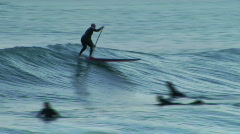Longboard Paddle Surf 5 Stock Footage