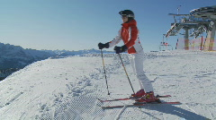 Female skier with steadycam part I Stock Footage