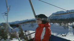Going up on chair lift Stock Footage