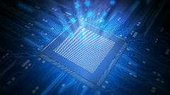 High quality animation of CPU microchip circuit board Stock Footage