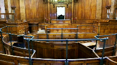 Crown court room with judges chair Stock Footage