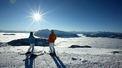 Skiers having amazing view Stock Footage