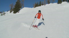 Skiing woman, steadycam Stock Footage
