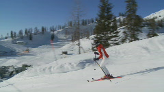 Skiing woman followed by steadycam Stock Footage