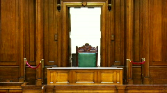 Court room with judges chair 2 Stock Footage