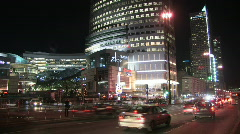Warsaw centre at night  Stock Footage