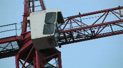 Building crane - operator booth Stock Footage