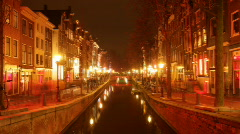 Amsterdam night sex prostitution neon red light district Stock Footage