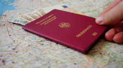 HD720p European Union passport and money close up (Germany) Stock Footage