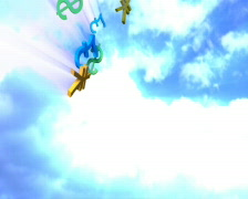 Falling from the sky colorful currency symbols, dollar, yen, pound, euro, loop Stock Footage