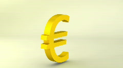Rotating gold euro sign, loopable - stock footage