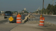 Barrier in new road Stock Footage