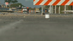 Detour barrier in new  construction Stock Footage