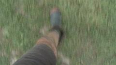 Gumboots walking Stock Footage