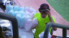 Cotton Candy Ballpark Vendor 02 - stock footage