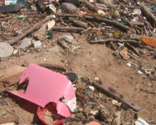 PAL: Beach with pollution Stock Footage