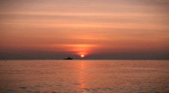Sunset with boat, HD Stock Footage