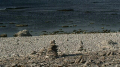 Eroded limestone coastline on the island of Fårö in Sweden Stock Footage