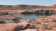 Stock Video Footage of Lake Powell Arizona zoom in boat P HD