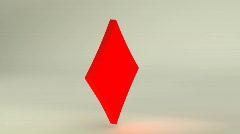3D Rotating Diamonds card symbol, loopable  Stock Footage