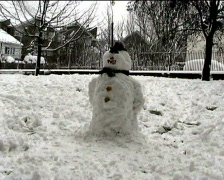 Stock Video Footage of snowman multiple shots Pov through window